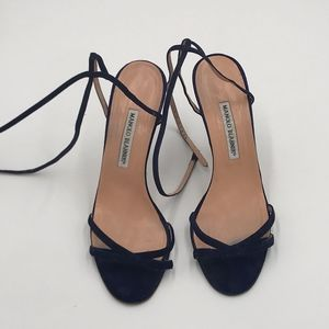 MANOLO BLAHNIK NAVY BLUE SUEDE ANKLE-STRAP SANDALS